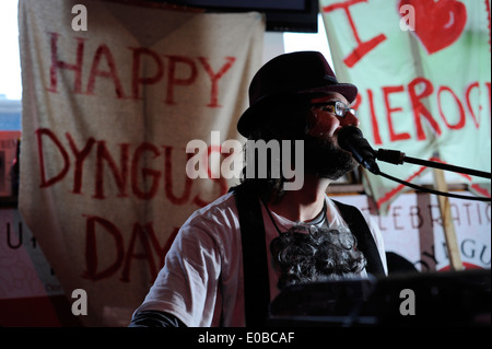 DJ Kishka performs at the Happy Dog in Cleveland OH on Dyngus Day. - Stock Photo