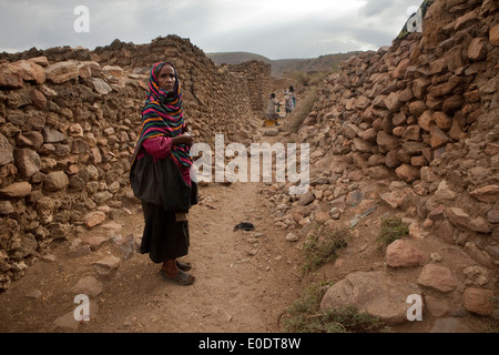 Portrait of a woman in Koremi village, near Harar, in the Ethiopian Highlands of Africa. - Stock Photo