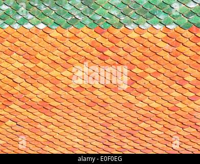 Roof tiles background tiles bright orange sunlight. - Stock Photo