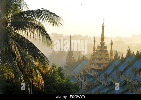 View from the Shwedagon Pagoda, Yangon, Myanmar, Burma, Asia - Stock Photo