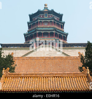 Low angle view of Tower of Buddhist Incense at Longevity Hill, Summer Palace, Haidian District, Beijing, China - Stock Photo