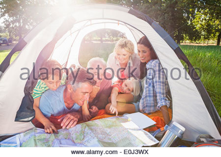Multi-Generation Family Enjoying Camping Trip - Stock Photo