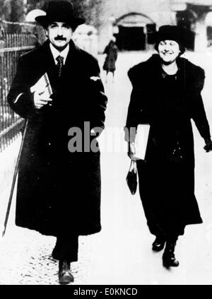 Apr 12, 1928 - Paris, France - Professor ALBERT EINSTEIN with his wife and cousin ELSA. Albert Einstein Albert Einstein - Stock Photo