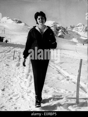 Princess Soraya on a snowy mountain while on vacation in St. Moritz - Stock Photo