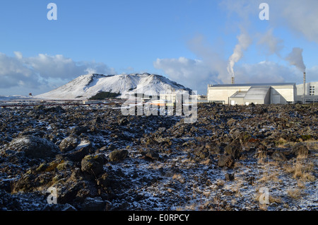 Svartsengi geothermal electrical power station near Grindavik, Iceland. - Stock Photo