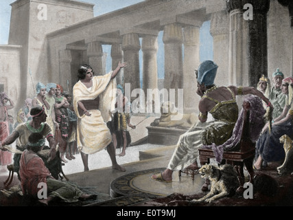 Joseph interpreting the Pharaoh's Dream. Genesis 41:25-26. 19th century. Colored engraving. 'Historia de la Naciones'. - Stock Photo