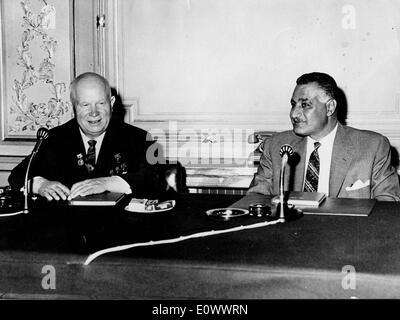 Nikita Khrushchev and Gamal Abdel Nasser at the Kubbeh Palace - Stock Photo