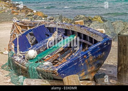 Old Abandoned Boat Tortola British Virgin Islands - Stock Photo