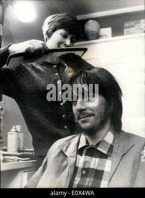 Apr. 04, 1965 - Michael Chaplin has a screen test, hairdresser gets to work. Eighteen year old Michael Chaplin son - Stock Photo