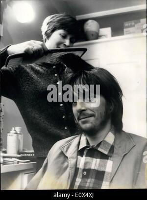 Apr. 04, 1965 - Michael Chaplin has a screen test hairdresser gets to worked: Eighteen year old Michael Chaplin - Stock Photo