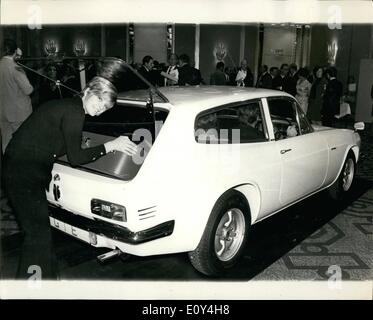 Oct. 10, 1968 - World's Firsts GT/Estates Car from Reliant. Unique Four Seater Joins Scimitar Range. Reliant announce - Stock Photo