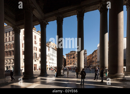 Looking out from the Pantheon, through the columns, toward the Piazza della Rotonda, Rome Italy Europe - Stock Photo