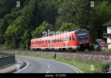 German regional train tilting in a bend - Stock Photo