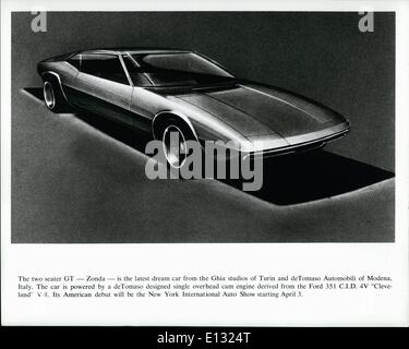 Feb. 26, 2012 - The two seater GT -Zonda - is the latest dream car from the Ghia studios of Turin and de Tomaso - Stock Photo
