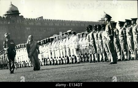 Feb. 26, 2012 - Prime Minister Mrs. Indira Gandhi inspecting the guard of honour just before unfurling Indian National - Stock Photo