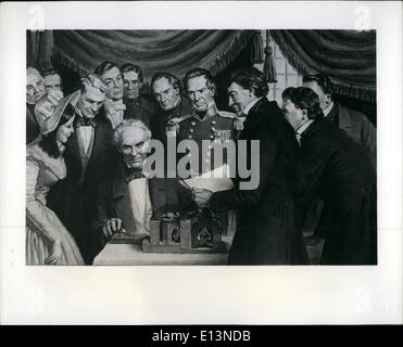 Mar. 22, 2012 - Morse Sends First Telegram: Samuel F. Morse, inventor of the first practical telegraph, is shows - Stock Photo