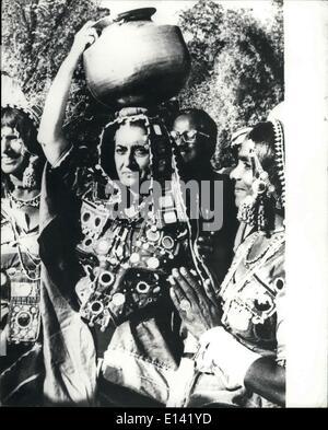 Mar. 31, 2012 - Prime Minister Indira Gandhi Joins In Folk Dancing Indian Prime Minister Mrs. Indira Gandhi dress - Stock Photo