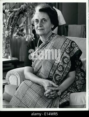 Apr. 18, 2012 - Indian Prime Minister Indira Gandhi. - Stock Photo