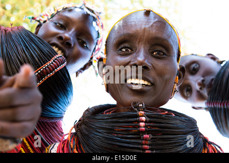 Beautiful Rendille women in their village in northern Kenya. - Stock Photo