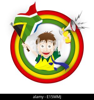 Vector - South Africa Soccer Fan Flag Cartoon - Stockfoto