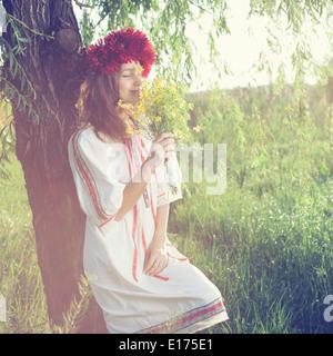 Beautiful portrait of ukranian girl - Stock Photo