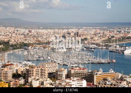 panoramic view from bellver castle, palma de mallorca, mallorca island, spain, europe - Stock Photo