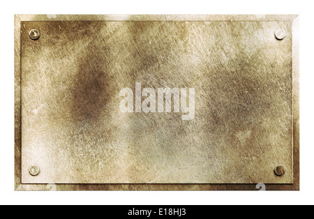 Rustic shiny brass yellow metal sign plate with rivets texture background isolated on white - Stock Photo