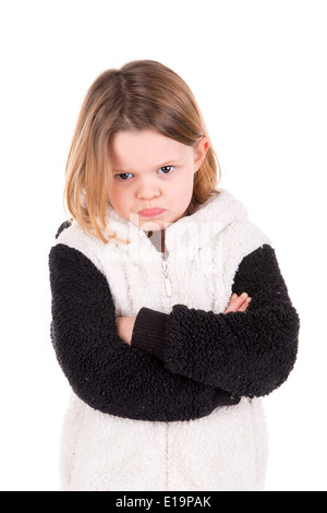 Angry young girl isolated in white - Stock Photo