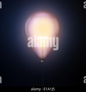 Bulb inside a balloon - creativity concept illustration  - Stockfoto