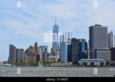 View of Lower Manhattan at Battery Park. - Stock Photo