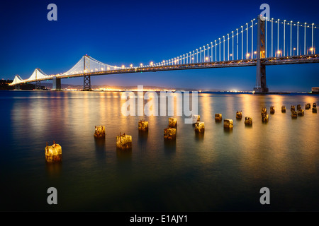 Night View of the the Western Section of the San Francisco-Okland Bay Bridge, San Francisco, California, USA. - Stock Photo