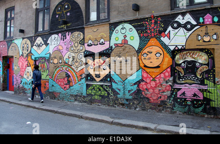 Trendy neighbourhood of Grunerlokka in Oslo which has colourful street art and markets. - Stock Photo