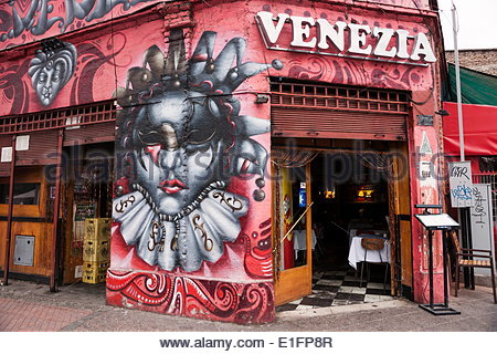 Restaurant barrio bellavista district santiago chile stock for Carpenter papel mural santiago chile