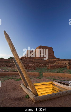 Kiva and mission church ruins, Pecos National Historical Site, Pecos, New Mexico USA - Stock Photo
