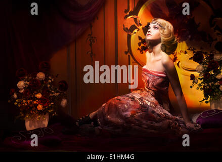Splendor. Aristocratic Woman in Luxury Vintage Interior Looking Up - Stock Photo