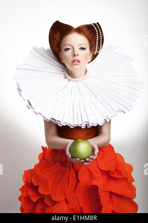 Retro Style. Portrait of Styled Redhead Woman Duchess in Vintage Frill - Stock Photo