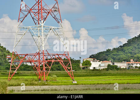 Power lines in countryside - Stock Photo