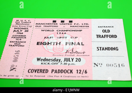Original 1966 World Cup tickets for the Eighth Final match - Hungary V Bulgaria on a green background - Stock Photo