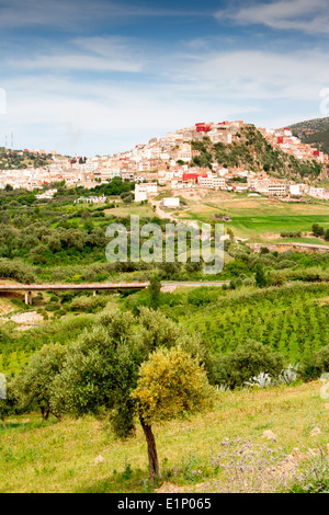 View of the picturesque hilltop  town of Moulay Idriss near Volubilis in Morocco. - Stock Photo