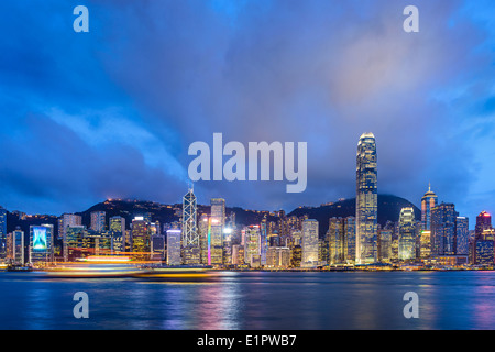 Hong Kong, China at Victoria Harbor. - Stock Photo