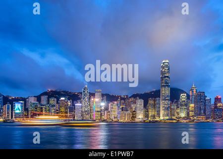 Hong Kong, China at Victoria Harbor. - Stock Photo