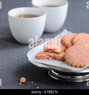 Pink biscuit shortbread cookies - Stock Photo