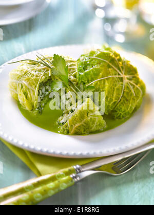 Cabbage leaves stuffed with whiting and sorrel,green parsley sauce - Stock Photo
