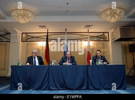 St. Petersburg, Russia. 10th June, 2014. German Foreign Minister Frank-Walter Steinmeier (SPD, L-R) Russian Foreign - Stock Photo