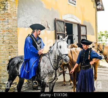 Hungarian cowboy 'Csikos' Once common on the Great Hungarian Plain, Kalocsa, Hungary - Stock Photo