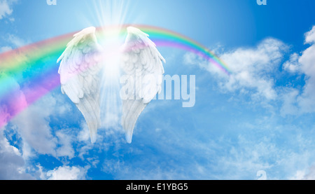 Angel Wings and Rainbow  on blue sky and fluffy cloud background Website Banner - Stock Photo