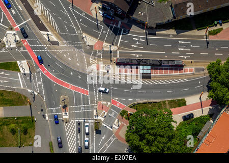 Aerial view, Wattenscheider Straße and Gahlensche Straße junction at Westpark, Bochum, Ruhr district, North Rhine - Stock Photo