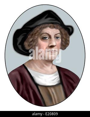 Christopher Columbus; 1451 1506; Italian Explorer, Navigator; Illustration - Stock Photo