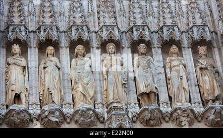 Statues at the City Hall on the Grand Place of Brussels, Belgium. - Stock Photo