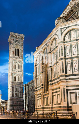 Giotto's Campanile in Piazza San Giovanni Florence Tuscany - Stock Photo